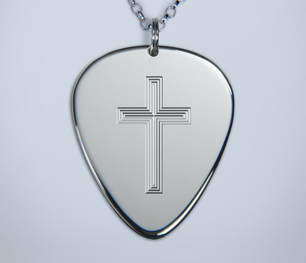 Engraved Cross Silver Pick Pendant