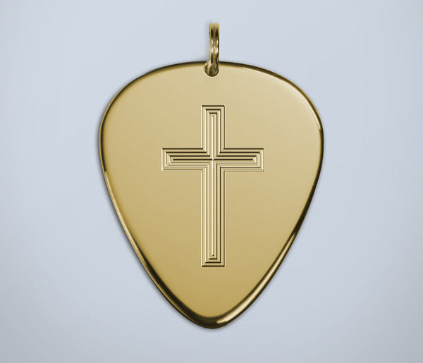 Cross Engraved Gold Plectrum
