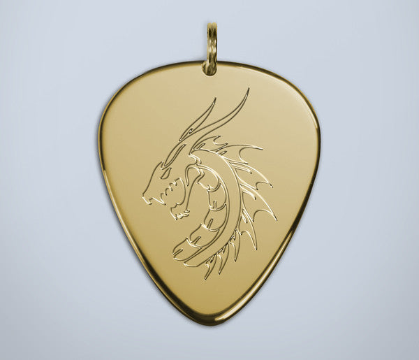 Dragon Engraved Gold Pendant