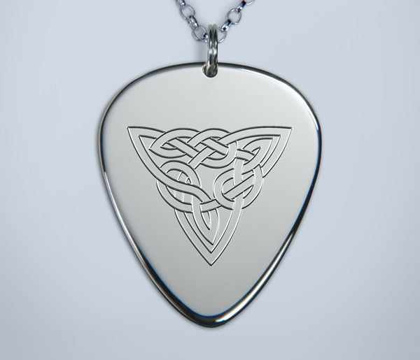 Engraved Knotwork Silver Pendant