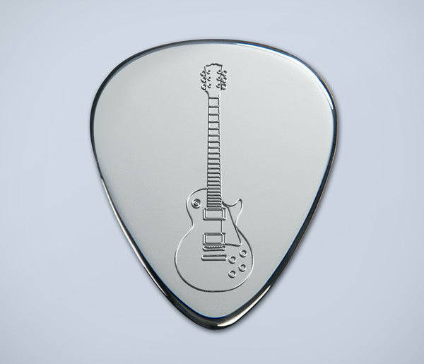 Engraved Les Paul Silver Plectrum