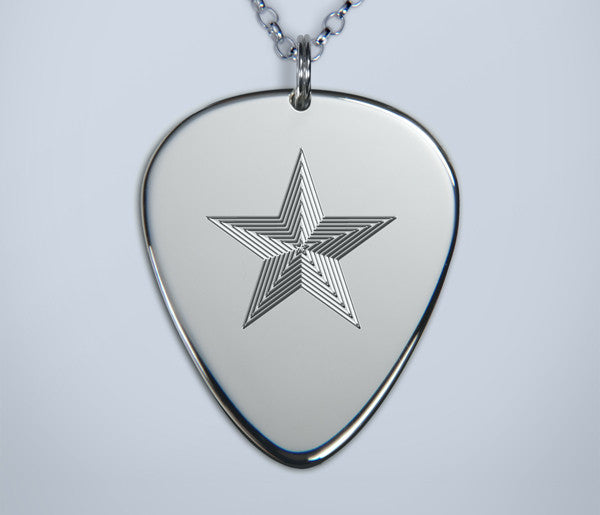 Engraved Star Silver Pick Pendant