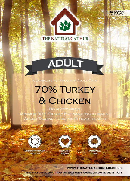 Adult-turkey-chicken-cat food-70%-Active cat-outdoor cat-fussy eater-grain free-natural
