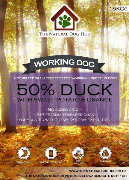 THE NATURAL DOG HUB Grain Free ADULT Duck, Sweet Potato & Orange Working Dog Complete Food 15kg-Grain Free Complete Food-The Natural Dog Hub-15kg-The Natural Dog Hub
