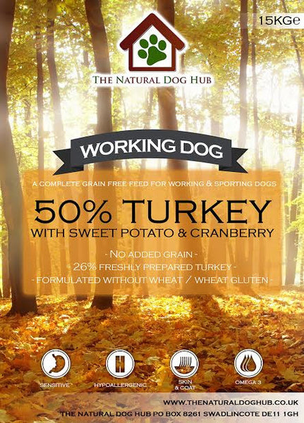 THE NATURAL DOG HUB Grain Free ADULT Turkey, Sweet Potato & Cranberry Working Dog Complete Food 15kg-Grain Free Complete Food-The Natural Dog Hub-15kg-The Natural Dog Hub