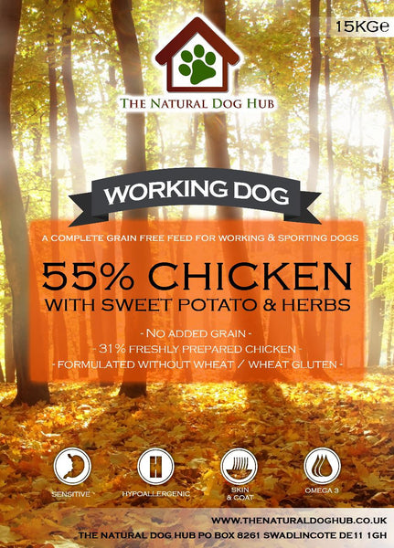 THE NATURAL DOG HUB Grain Free ADULT Chicken, Sweet Potato & Herbs Working Dog Complete Food 15kg-Grain Free Complete Food-The Natural Dog Hub-15kg-The Natural Dog Hub