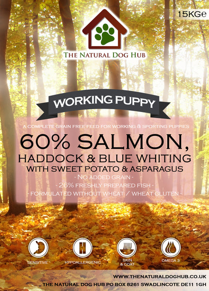 TNDH Grain Free PUPPY Salmon & Haddock, Sweet Potato & Asparagus Working Dog Complete Food 15kg-Grain Free Complete Food-The Natural Dog Hub-15kg-The Natural Dog Hub