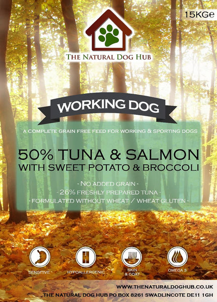 THE NATURAL DOG HUB Grain Free ADULT Tuna, Sweet Potato & Broccoli Working Dog Complete Food 15kg-Grain Free Complete Food-The Natural Dog Hub-15kg-The Natural Dog Hub
