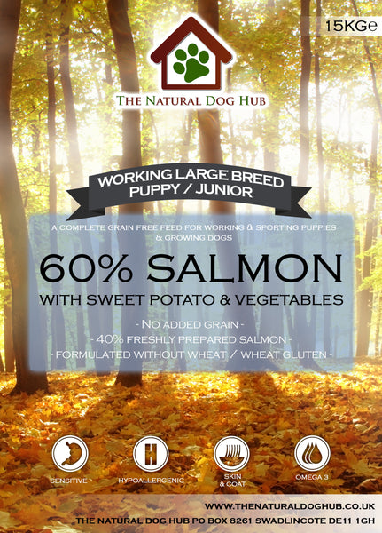 TNDH Grain Free Large Breed PUPPY/JUNIOR Salmon, Sweet Potato & Vegetables Working Dog Food 15kg-Grain Free Complete Food-The Natural Dog Hub-15kg-The Natural Dog Hub