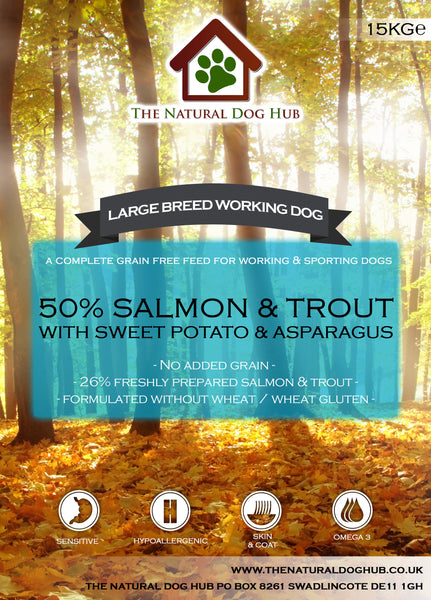 grainfree-grain free-salmon-trout-15kg-large breed-dog food-bulk buy-natural-deal