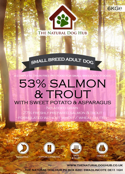 natural-Grain Free-SMALL BREED-freshly prepared-Salmon & Trout, Sweet Potato & Asparagus-Complete-dog-Food-6kg