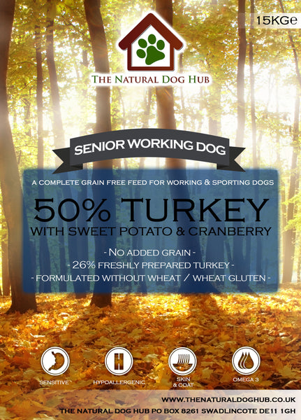 THE NATURAL DOG HUB Grain Free SENIOR Turkey with Sweet Potato & Cranberry Working Dog 15kg-The Natural Dog Hub-The Natural Dog Hub