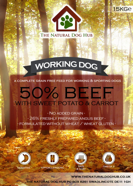 THE NATURAL DOG HUB Grain Free ADULT Beef, Sweet Potato & Carrot Working Dog Complete Food 15kg-Grain Free Complete Food-The Natural Dog Hub-15kg-The Natural Dog Hub