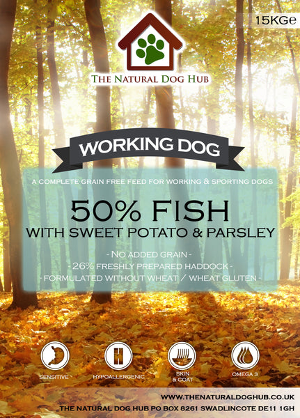 THE NATURAL DOG HUB Grain Free ADULT Fish, Sweet Potato & Parsley Working Dog Complete Food 15kg-Grain Free Complete Food-The Natural Dog Hub-15kg-The Natural Dog Hub