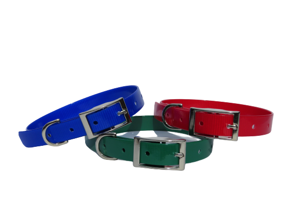 blue green red biothane collar