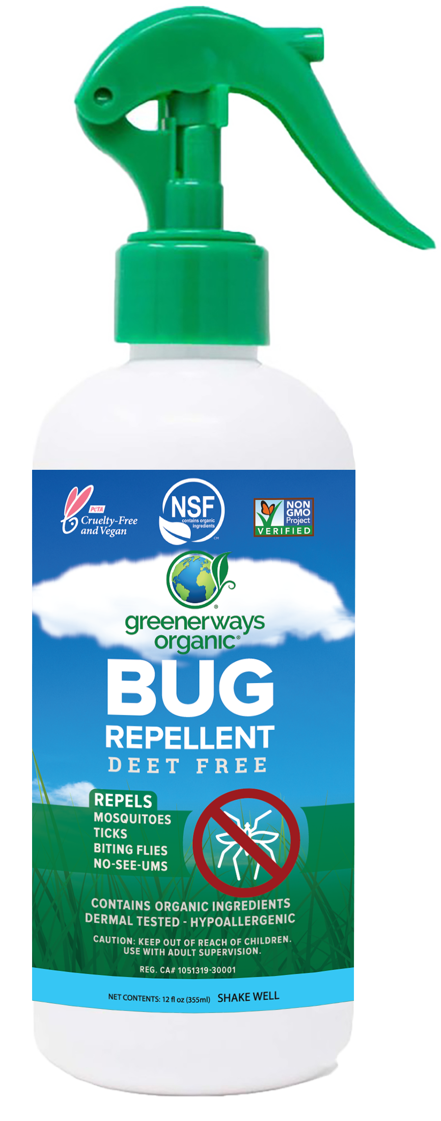 Greenerways Organic Natural Insect and Mosquito Repellent, Family Safe Bug Spray, DEET FREE (12oz)