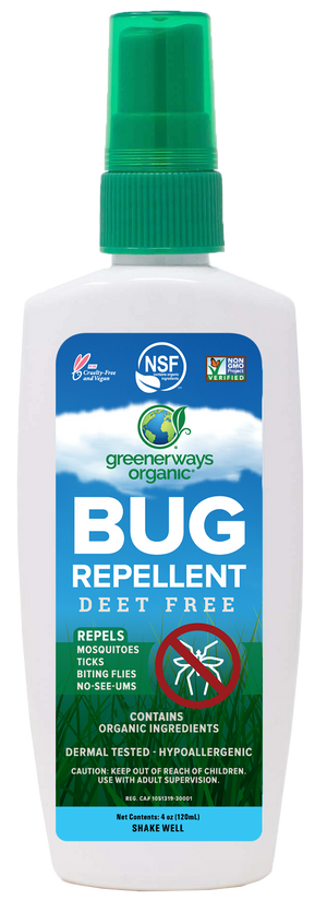 Greenerways Organic Insect Repellent, Natural and Family Safe Bug Spray, DEET FREE (4oz)