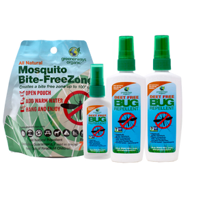 Greenerways Organic Home & Travel 4 Pack, Bite-FreeZone, 2oz & 4oz DEET FREE Bug Repellent