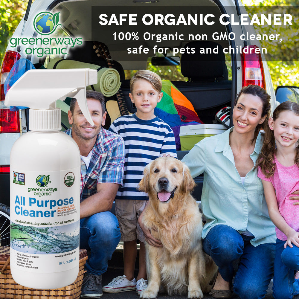 Greenerways Organic All-Purpose Cleaner, USDA Organic Non-GMO, Child Safe Multi-Surface Spray (16oz) - greenerways