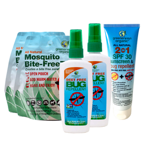 Greenerways Organic Camping 5 Pack, Bite-FreeZone, 2-in-1 SPF 30 Sunscreen & Bug Repellent, DEET FREE Bug Repellent