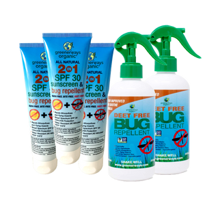 Greenerways Organic Outdoor Adventure 5 Pack, 2-in-1 SFP 30 Sunscreen & Bug Repellents & DEET FREE Bug Repellents