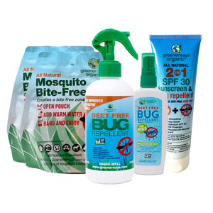 Greenerways Organic Family Camping 5 Pack, Bite-FreeZone, 2-in-1 SFP 30 Sunscreen & Bug Repellent, DEET FREE Bug Repellent