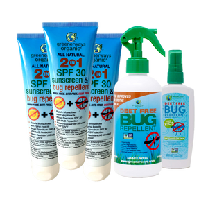 Greenerways Organic Family Adventure 5 Pack, 2-in-1 SFP 30 Sunscreen & Bug Repellents & DEET FREE Kids Bug Repellents
