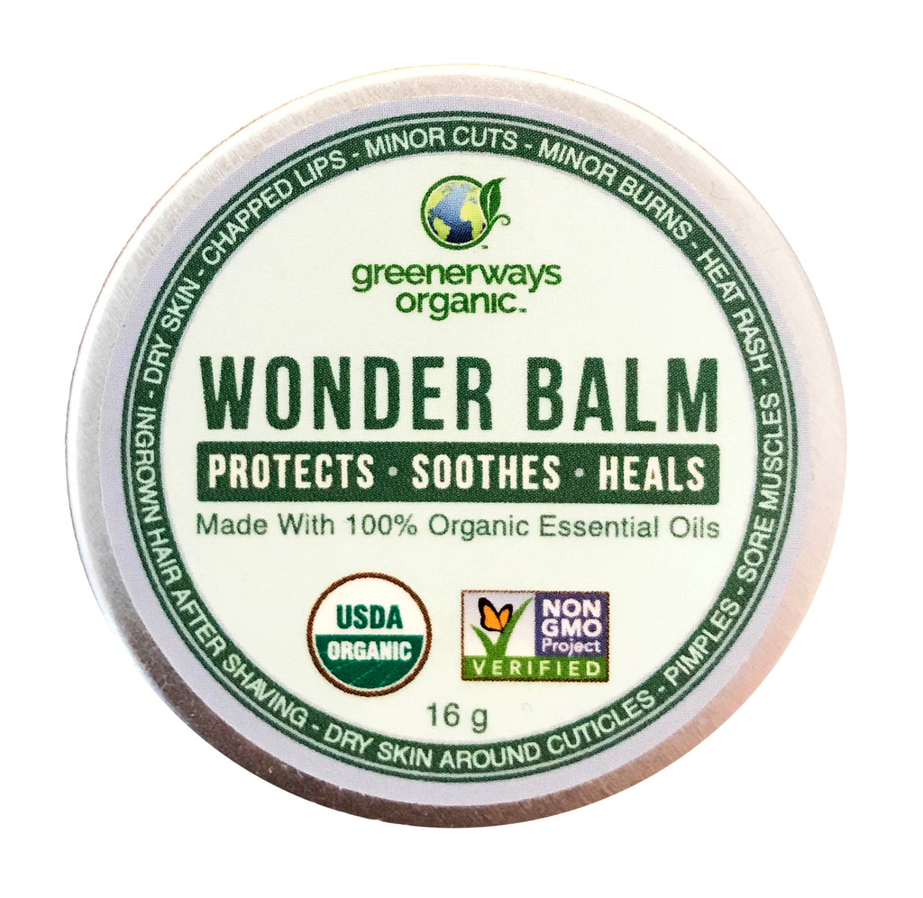 Greenerways Organic Wonder Balm, Made with 100% Organic Essential Oils, (16g) - greenerways