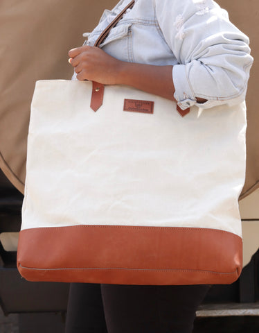 White Canvas and Chestnut Leather Tote