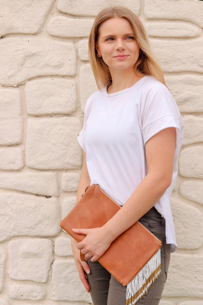 Tan and White Stripe Clutch