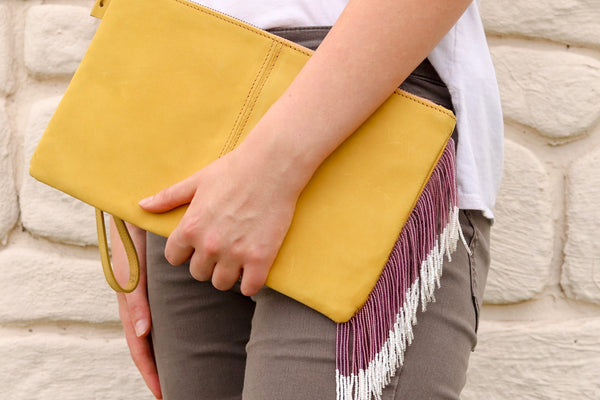 Yellow Purple and Silver Clutch