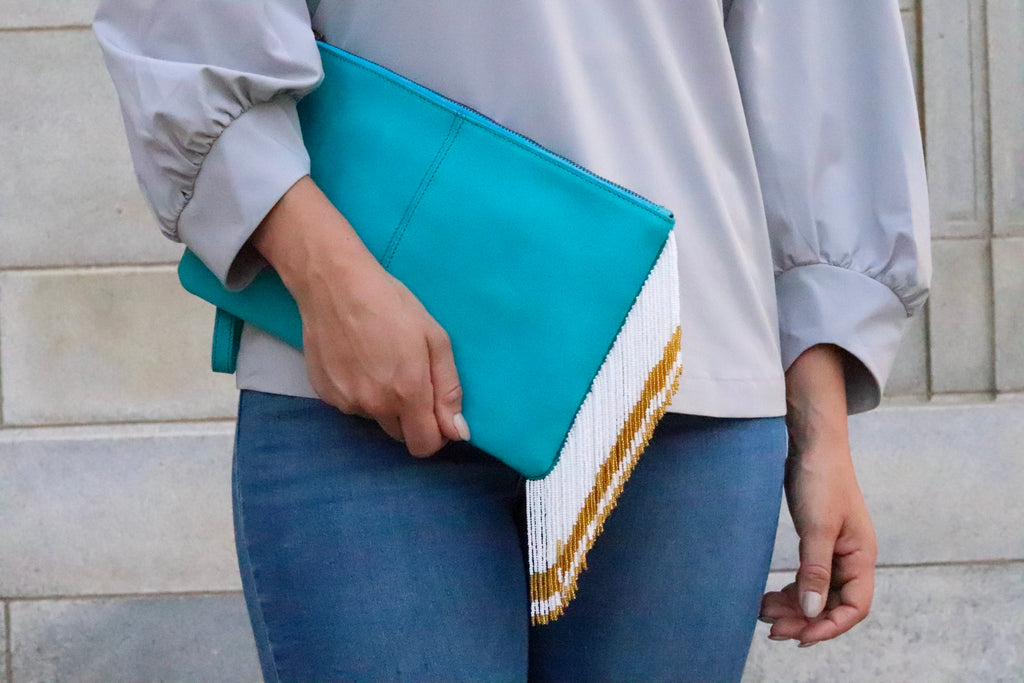 Teal Gold and White Clutch
