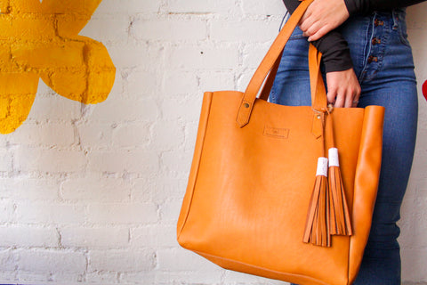 All Leather Chestnut Tote