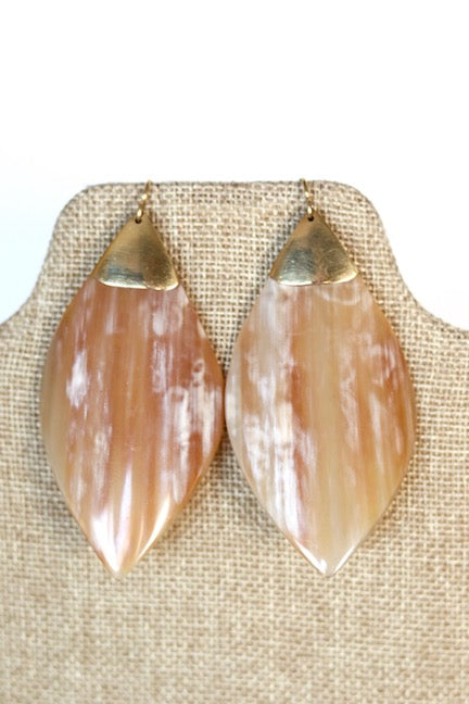 Brass and Cow Horn Earrings