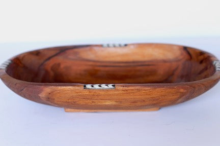 Olive Wood and Bone Bowl Oval Shape