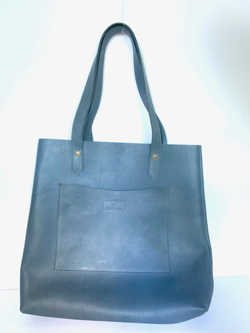 All Leather Grey Tote with Outer Pocket