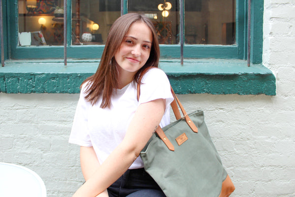 Green Canvas and Tan Leather Tote