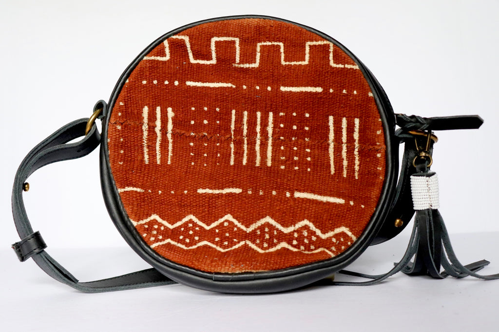 Round Brown Mud Cloth