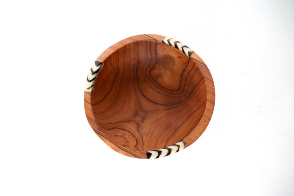 Olive Wood and Bone Bowl