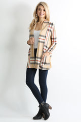 Load image into Gallery viewer, khaki plaid ruched sleeve