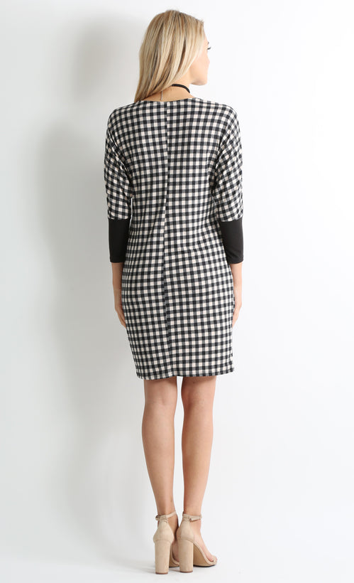 black tan plaid / black sleeve