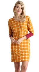 Load image into Gallery viewer, mustard plaid / burgundy sleeve
