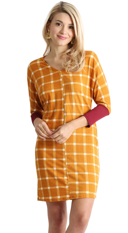 mustard plaid / burgundy sleeve