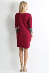 Load image into Gallery viewer, burgundy / black tan plaid sleeve