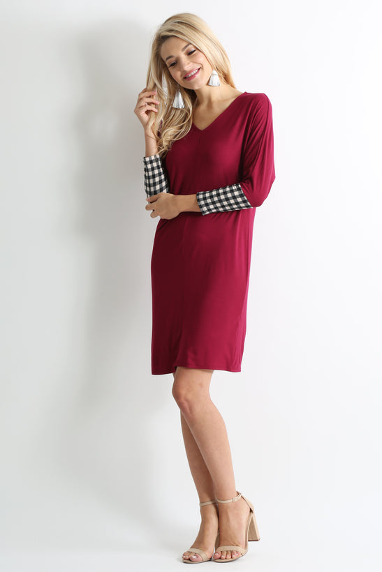 burgundy / black tan plaid sleeve