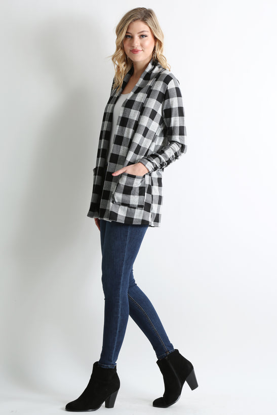 black - heather grey plaid