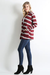 Load image into Gallery viewer, heather grey - burgundy stripe
