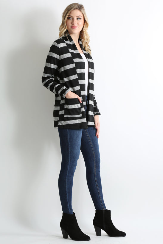 heather grey - black stripe