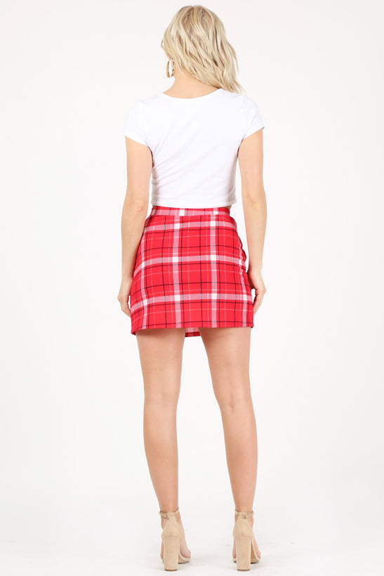 red/navy/ivory plaid