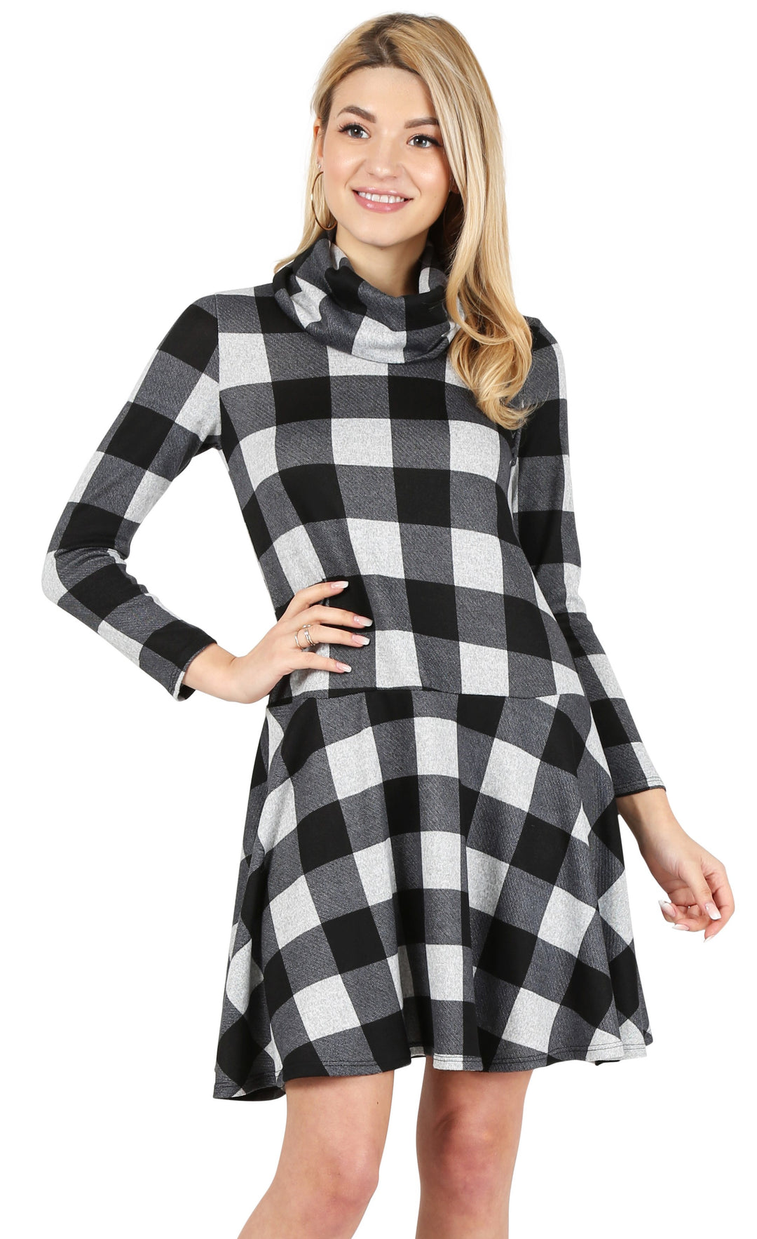 black - hether grey checkered